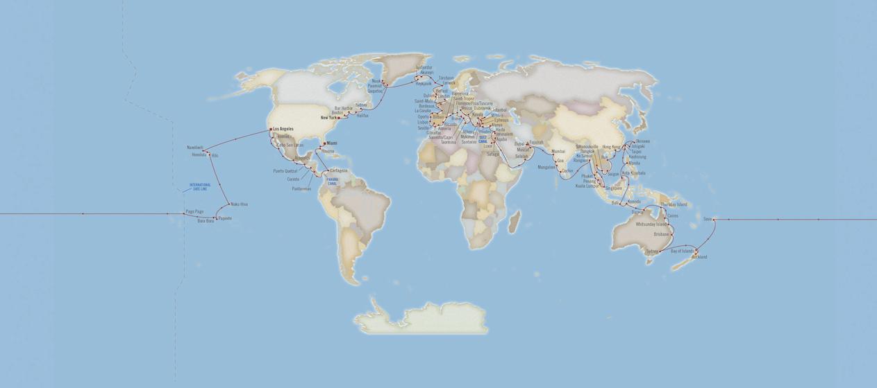 Oceania Cruises maakt route 180-daagse wereldcruise van 2021