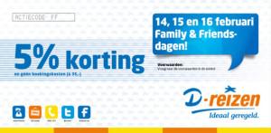 14, 15 en 16 februari zijn Family & Friends-dagen bij D-reizen. Medewerkers van de reisorganisatie mogen familie en (Facebook)'vrienden' 5% korting op de hele reissom geven en de reguliere boekingskosten van € 35 schrappen.