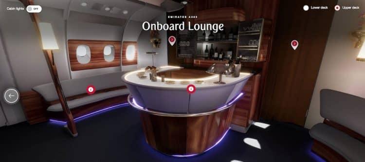 Emirates vliegtuigen verkennen met 360 graden 3D ervaring