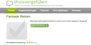 Thuisvergelijken.nl: drie sterren voor Fantasie Reizen