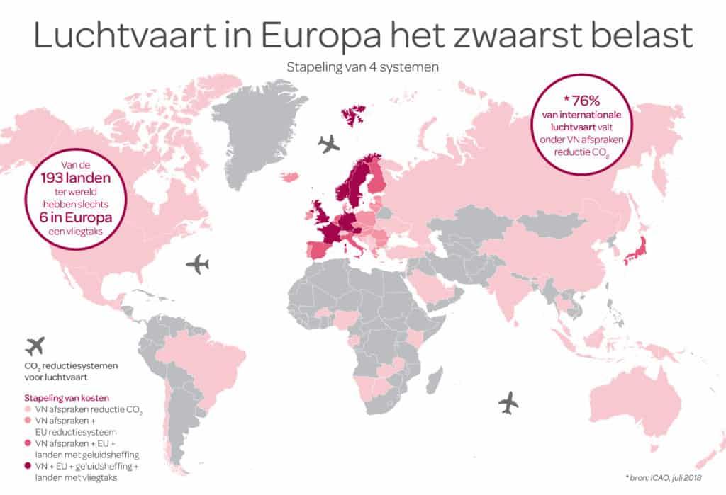 De luchtvaart in Nederland betaalt 264 miljoen euro aan security (Bron SEO Benchmark 2018). * De luchtvaart in Nederland betaalt 457 miljoen euro aan havengelden (Bron SEO Benchmark 2018). * De luchtvaart betaalt 59 miljoen euro aan luchtverkeersleiding (Bron SEO Benchmark 2018).    Afbeelding 2) Vliegbelasting in Europa In verschillende landen is een vliegbelasting van kracht. In die landen vloeit de opbrengst van deze belasting echter terug naar de luchtvaart. KLM is voor de verduurzaming van de luchtvaart, maar vliegbelasting waarbij de opbrengsten naar de staatskas gaan helpt het milieu niet. Dit blijkt ook uit onderzoek van CE Delft in opdracht van het Ministerie van Financiën.    Afbeelding 3) Luchtvaart betaalt voor CO2 uitstoot In tegenstelling tot wat vaak gedacht wordt, betaalt de luchtvaart wel degelijk voor CO2 uitstoot.  1) Europees: De luchtvaart betaalt voor haar CO2 uitstoot middels het huidige Europese emissiehandelssysteem (EU ETS) sinds 2012.  2) Mondiaal: De luchtvaart is de eerste sector die in VN verband concrete afspraken heeft gemaakt voor een        mondiaal systeem om CO2 te reduceren in 2016. Dit syteem wordt binnenkort van kracht.  3) Nationaal: Ook is er een geluidsheffing op Schiphol zodat lawaaiige vliegtuigen meer betalen.