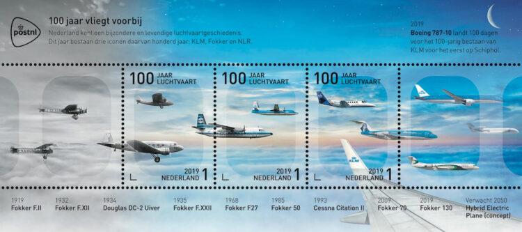 PostNL komt met postzegelvel 100 jaar luchtvaart