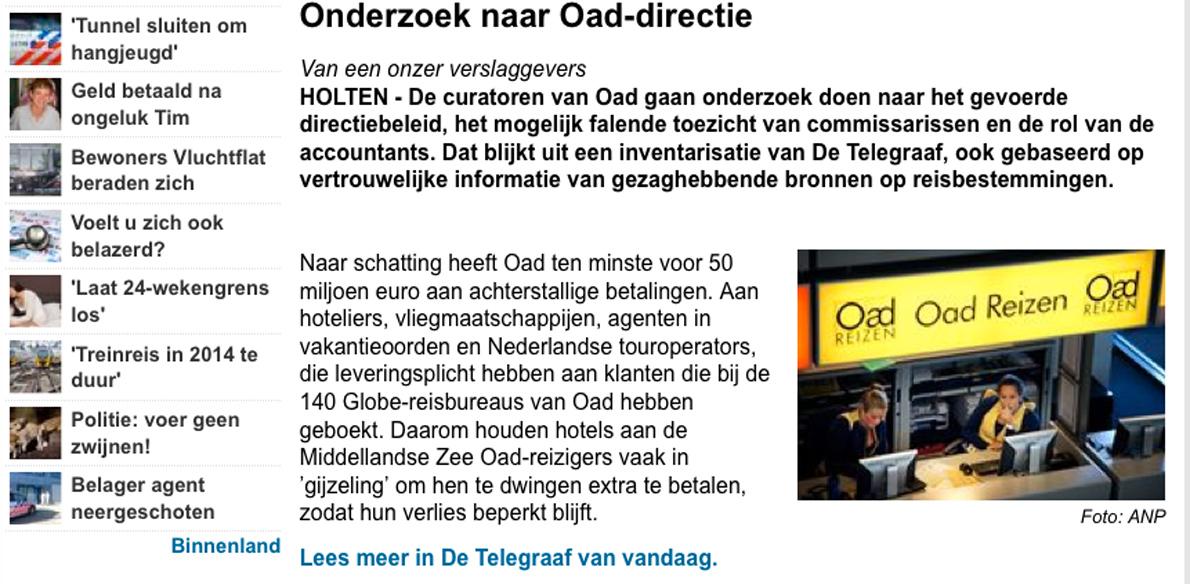 Berichtgeving Telegraaf omtrent Oad 'tendentieus'