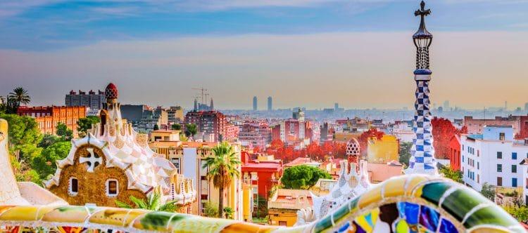 Park Guell door architect Antoni Gaudi in Barcelona.