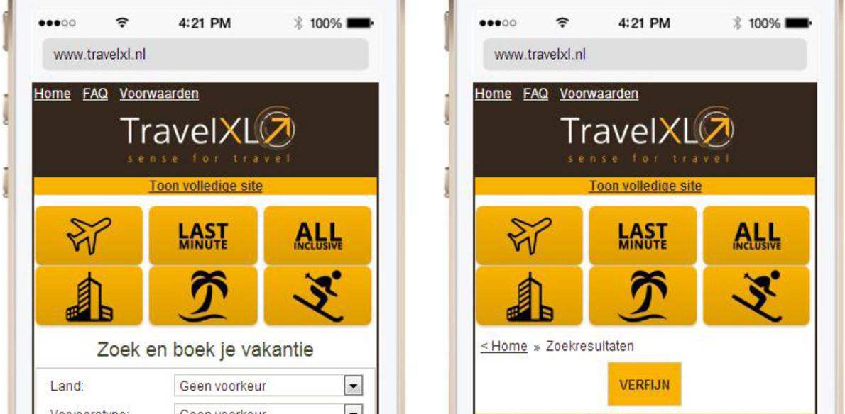 TravelXL lanceert mobiele website
